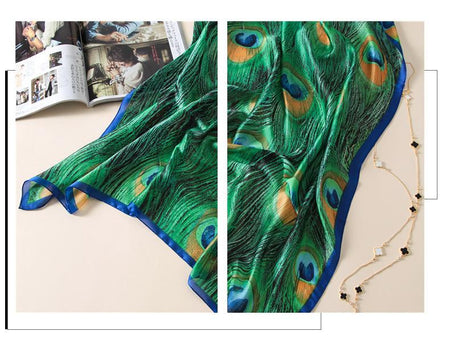 Silk Scarfs Women Print Peacock Feathers Silk Foulard Scarf - GiftWorldStyle - Luxury Jewelry and Accessories