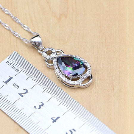 Silver 925 Jewelry Sets Water Drop Rainbow Zircon Stone Women Earrings Pendant Necklace Ring Bracelet