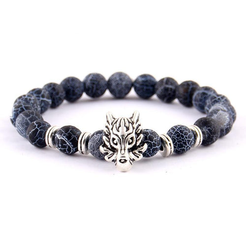Silver Animal Wolf Head Bracelet Frosted Volcano Lava Stone Beads Buddha Dragon