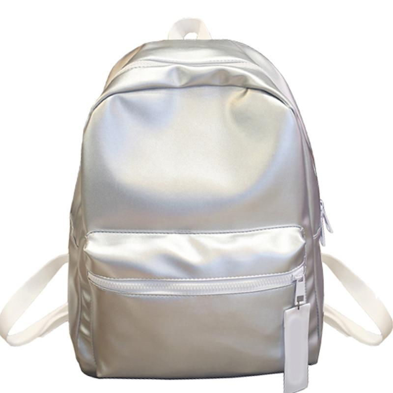 Women's Glossy Holographic PU Leather Backpack For Girls - GiftWorldStyle - Luxury Jewelry and Accessories
