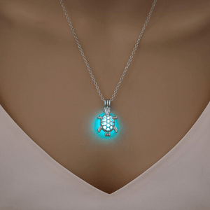 Silver Color Hollow Turtle Pendant Necklace For Girlfriend Jewelry Glowing In The Dark Luminous Choker