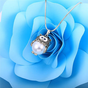 Silver Cute Owl Dazzling CZ Water Pearl Pendant Necklace - GiftWorldStyle - Luxury Jewelry and Accessories