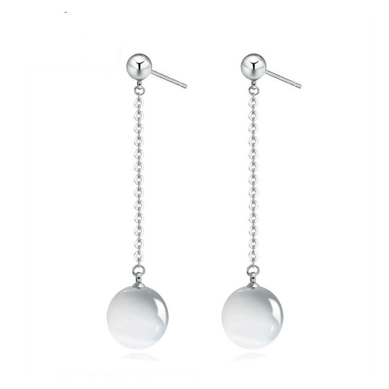 Silver Links Long Tassel Light Bead Earrings For Women - GiftWorldStyle - Luxury Jewelry and Accessories