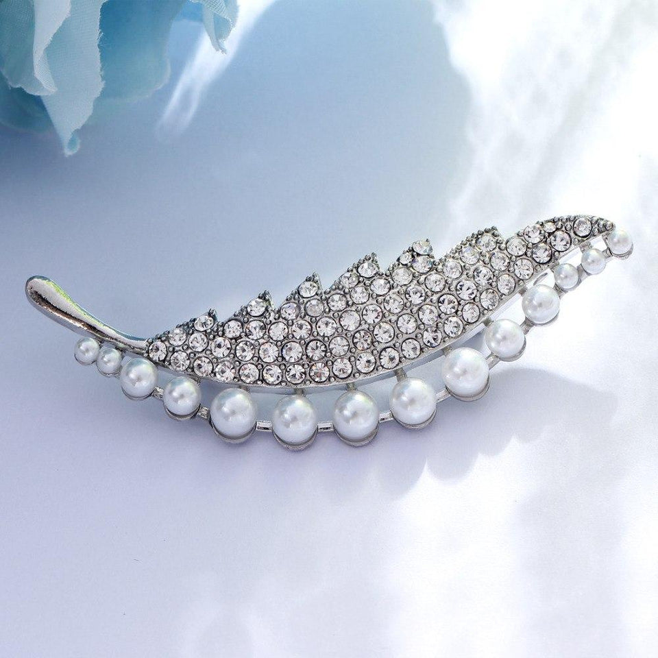 Simulated Peal Leaf Brooches Women's Classic Party Banquet Silver Plated Brooch