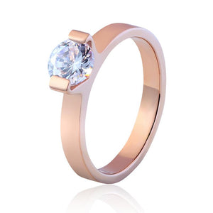 Size 4 To 10 Multi Faceted AAA Zircon Stainless Steel Ring Wedding Jewelry Ring