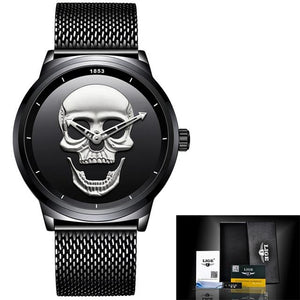 Skull Stainless Steel Quartz Waterproof Watch