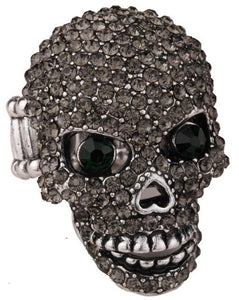 Skull Stretch Ring Women Girls Scarf Clasp Biker Bling Gothic Jewelry Mom Gold Silver