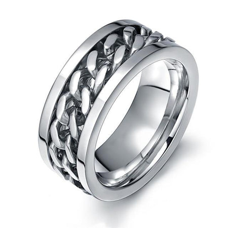 Chain Ring for Men From Titanium Steel Metal - GiftWorldStyle - Luxury Jewelry and Accessories