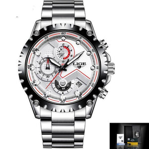 Sport Quartz Men Waterproof Watch Full Steel - Auto Date - GiftWorldStyle - Luxury Jewelry and Accessories
