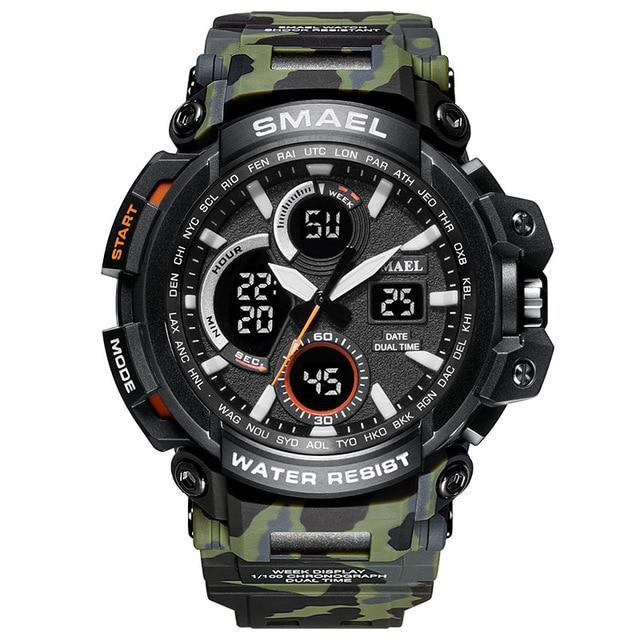 Sport Watch Dual Time Display Male Clock Waterproof Shock Resistant Wristwatch Digital Military