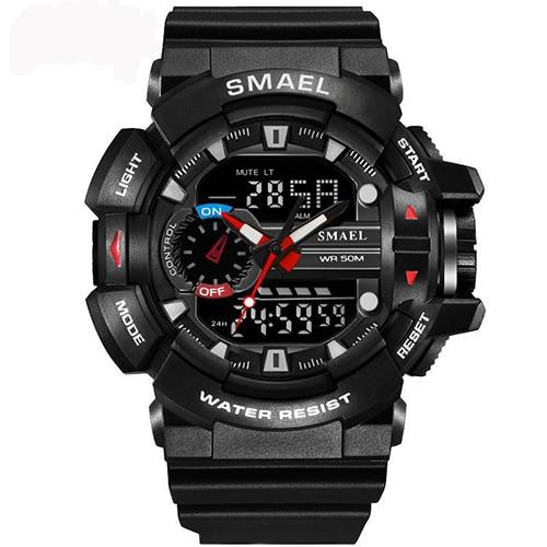 Sport Watches Dual Time LED Digital Watch Quartz Analog Men's Wristwatches Military