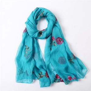 Spring Women Scarf With Silk Soft Flower Print,Roses - GiftWorldStyle - Luxury Jewelry and Accessories