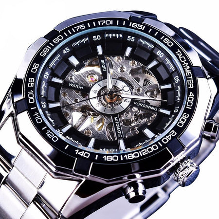 Steampunk Automatic Mechanical Watch With Skeleton Dial - GiftWorldStyle - Luxury Jewelry and Accessories