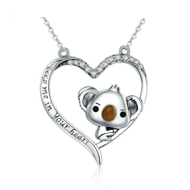 Sterling Silver Cute Koala Pendant Necklace For Women Girl Lovely Jewe Giftworldstyle Luxury Jewelry And Accessories