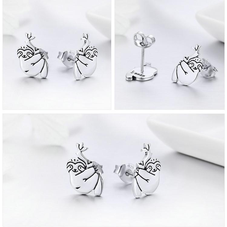 Sterling Silver Cute Sloth Stud Earrings Women Silver Animal Jewelry Gift