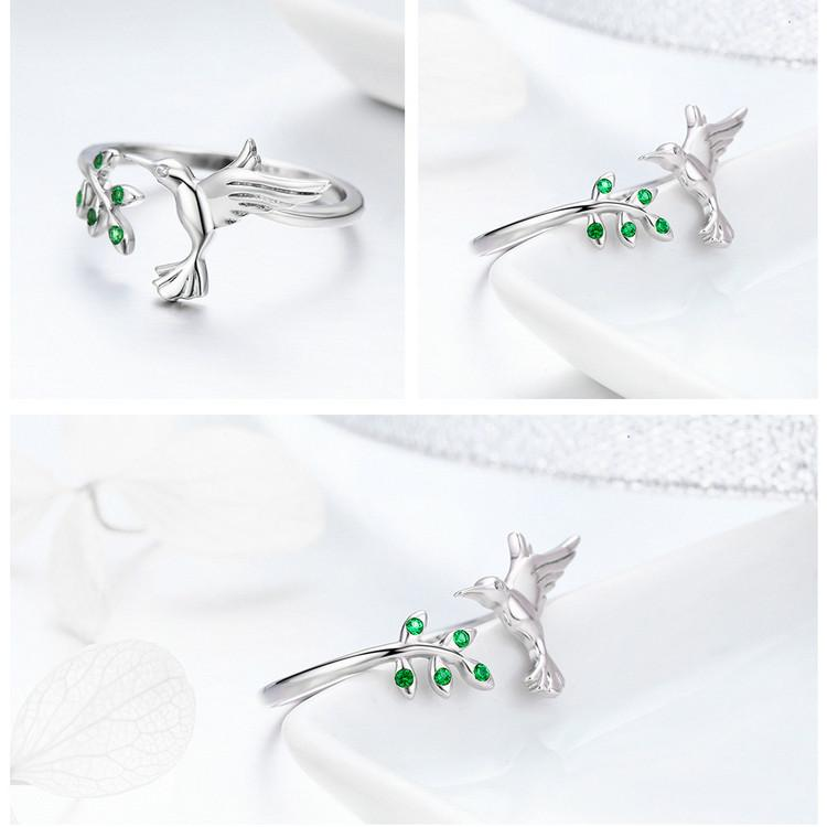 Sterling Silver Hummingbird Leaves Ring For Women Nature Style Silver Jewelry Gift