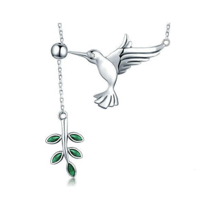 Sterling Silver Hummingbirds Birds Pendant Necklace - GiftWorldStyle - Luxury Jewelry and Accessories