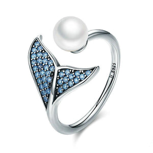 Sterling Silver Pearl The Tail Of Mermaid Adjustable Rings For Women Silver Jewelry Gift