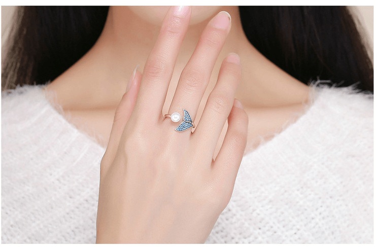 Adjustable Ring With Sterling Silver Pearl The Tail Of Mermaid - GiftWorldStyle - Luxury Jewelry and Accessories