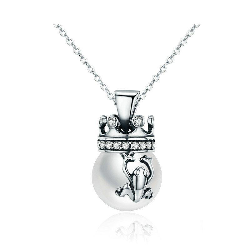 Sterling Silver The Frog Prince Pearl Pendant Necklace