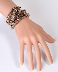 Stretch Snake Bracelet Armlet Upper Arm Cuff Women Punk Rock Crystal Bangle Gold Silver Color