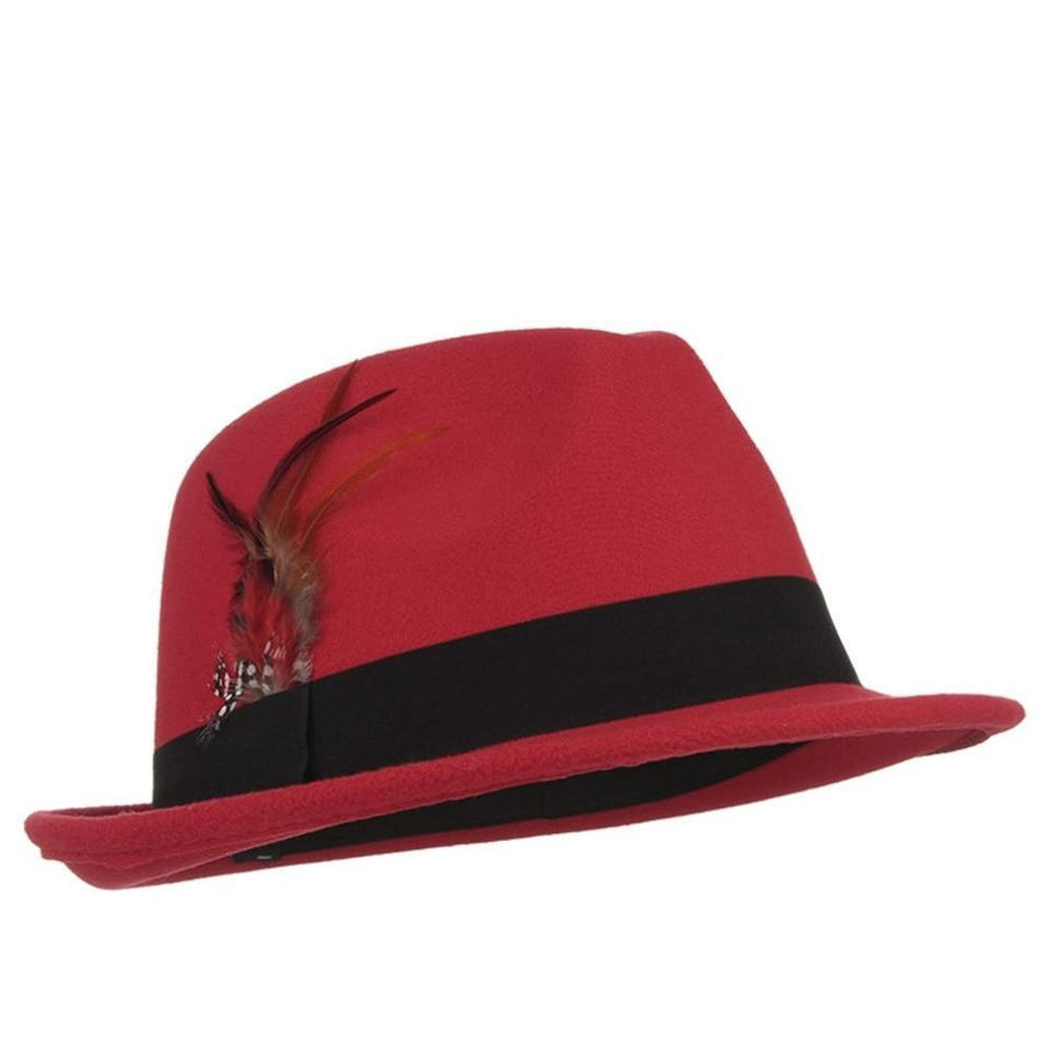 Style Men Wool Fedora Feather Solid Felt Trilby Cap Church Hat Casual Jazz Caps Male Fedoras