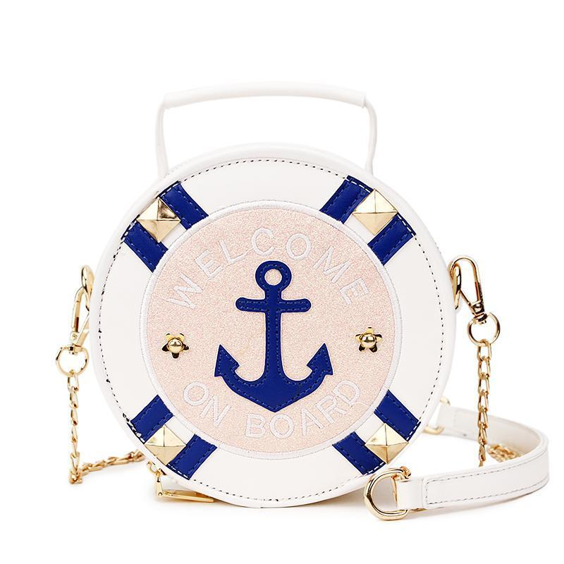 Stylish Embroidery Letter Rivets Round Pu Leather Shoulder Bags Cross Body Mini - GiftWorldStyle - Luxury Jewelry and Accessories
