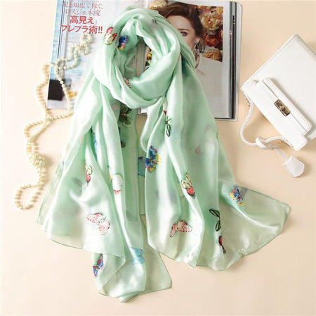 Summer Women Scarf  From Soft Silk With Butterfly Print - GiftWorldStyle - Luxury Jewelry and Accessories