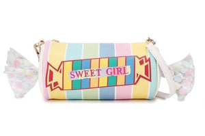 Sweet Candy Embroidered Letters Stripe Pu Ladies Clutch Bag Shoulder Totes Crossbody Mini Bag