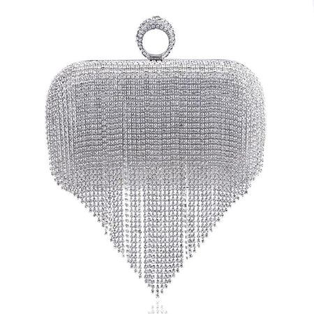 Tassel Rhinestone Finger Evening Bag With Chain - GiftWorldStyle - Luxury Jewelry and Accessories