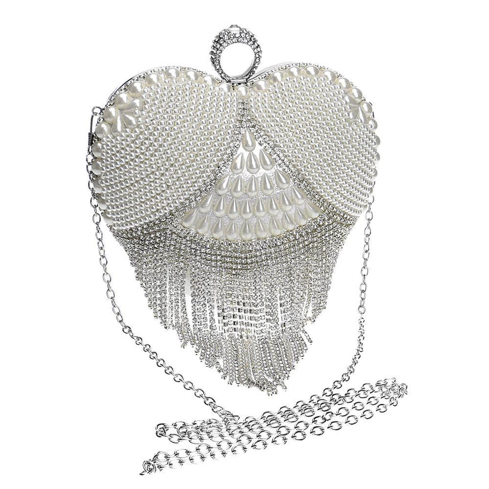 Finger Diamond Bag With Tassel And Beading,Chain Shoulder - GiftWorldStyle - Luxury Jewelry and Accessories