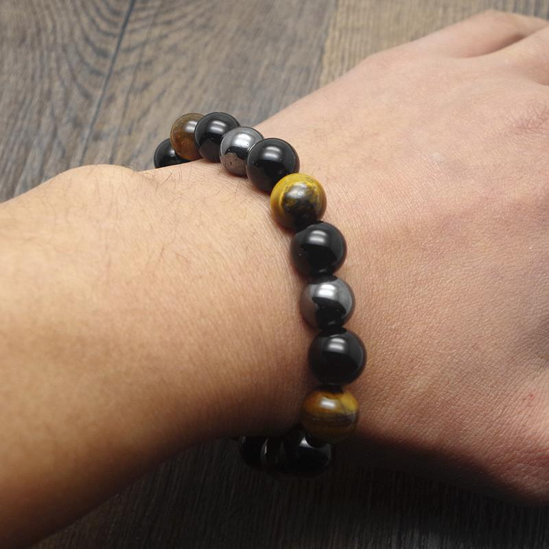 Tiger Eye Hematite & Black Obsidian 10mm Stone Bracelet Handmade DIY Jewelry