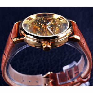 Transparent Mechanical Watch With Leather Strap And Skeleton - GiftWorldStyle - Luxury Jewelry and Accessories