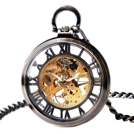 Transparent Open Face Hollow Skeleton Mechanical Pocket Watch Hand Winding Vintage Clock Pocket Chain