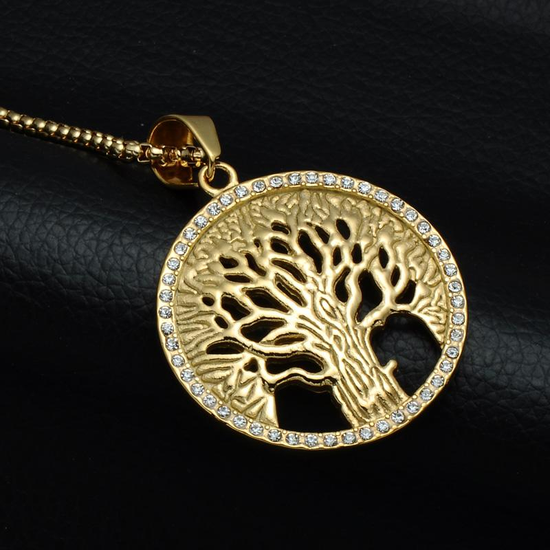 Tree Of Life Necklaces Pendants Stainless Steel Wisdom Tree Hollow Round Pendant Necklace