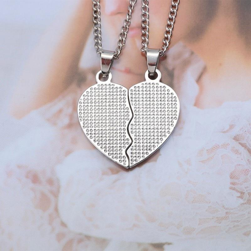Trendy Puzzle Heart Necklace Best Friends Necklaces Women Drop Oil Metal Silver Chain