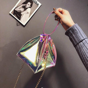 Triangle Laser Transparent Gradient Pvc Female Casual Totes Chain Purse Shoulder Bag Crossbody Flap