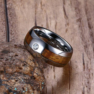 Tungsten Carbide Ring With Wooden Inlay And Cubic Zirconia - GiftWorldStyle - Luxury Jewelry and Accessories