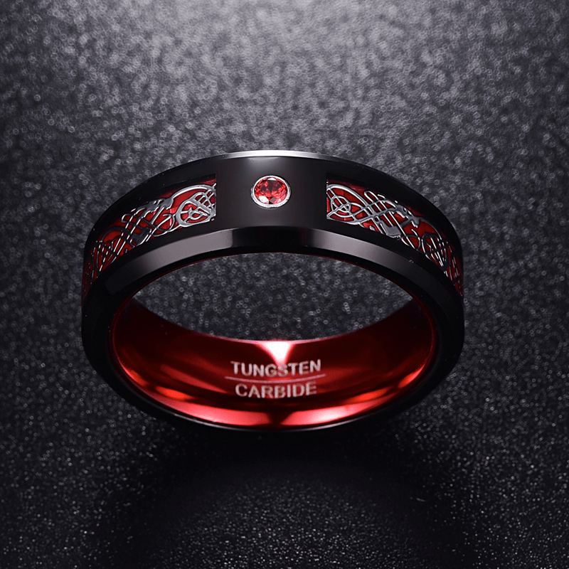 Tungsten Ring 8MM Wide Red Men's Classic  Wedding Band Ring