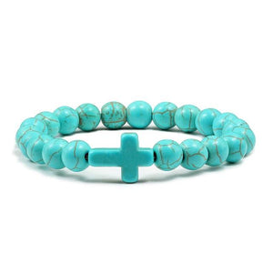 Turquoises Bracelet  Style Cross Men Natural Frosted Matte Volcanic Lava Rock Stone Beaded Bracelets