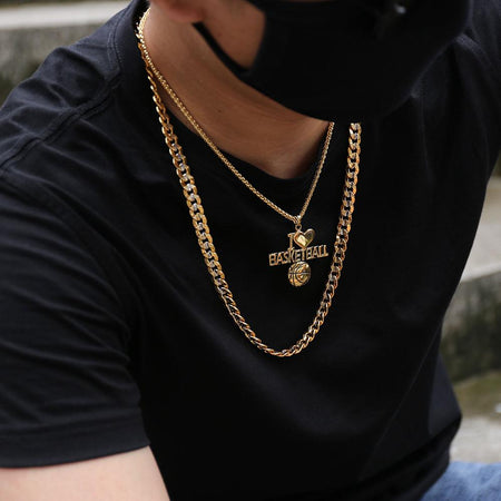 Two Tone Gold Color Chain For Men Hip Hop Jewelry 9MM Choker/Long Chunky Big Curb Cuban Link Biker Necklace Man