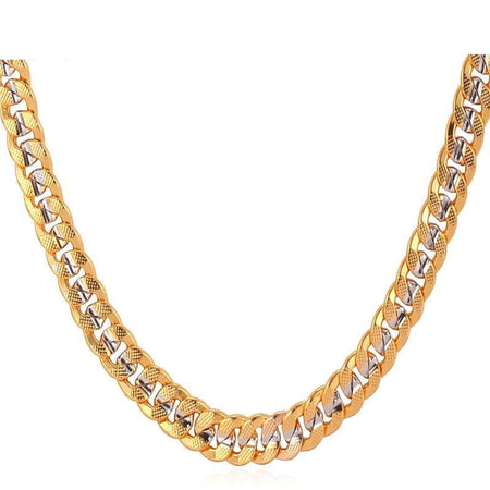 Two Tone Yellow Gold Color Necklace Hip Hop Men Jewelry Gift Trendy Choker/Long 6MM Cuban Link Chain