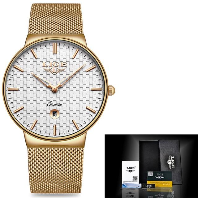 Ultra Thin Quartz Watch With Mesh Strap - Waterproof, Auto Date - GiftWorldStyle - Luxury Jewelry and Accessories