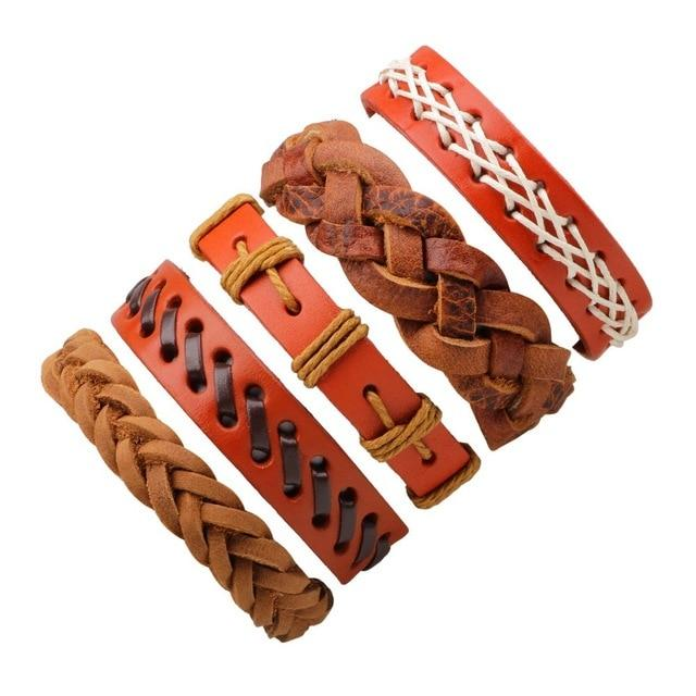 Vintage Charm Leather Bracelet - 1set/6pcs