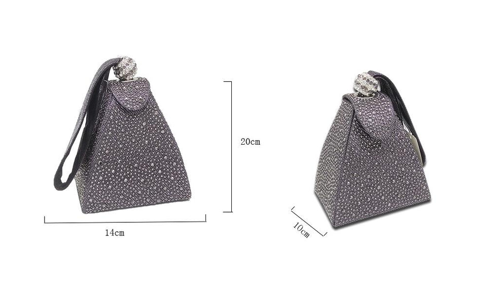 Diamond Pyramid Handbags With Crystal, Lock And Satin - GiftWorldStyle - Luxury Jewelry and Accessories