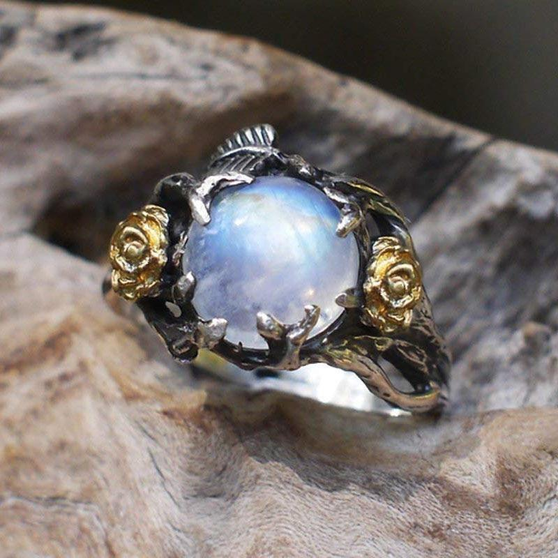 Vintage Finger Rings Women Jewelry Eternity Band Moonstone Ring Silver Indian Jewelry