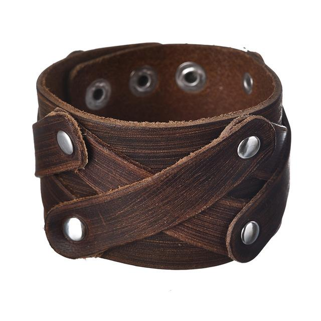 Vintage Genuine Wide Cuff Leather Male Bracelet Punk Rock Cowhide Leather Bangle Men Jewelry