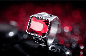 Vintage Ring Square Shape Red Stone Moon And Star - GiftWorldStyle - Luxury Jewelry and Accessories