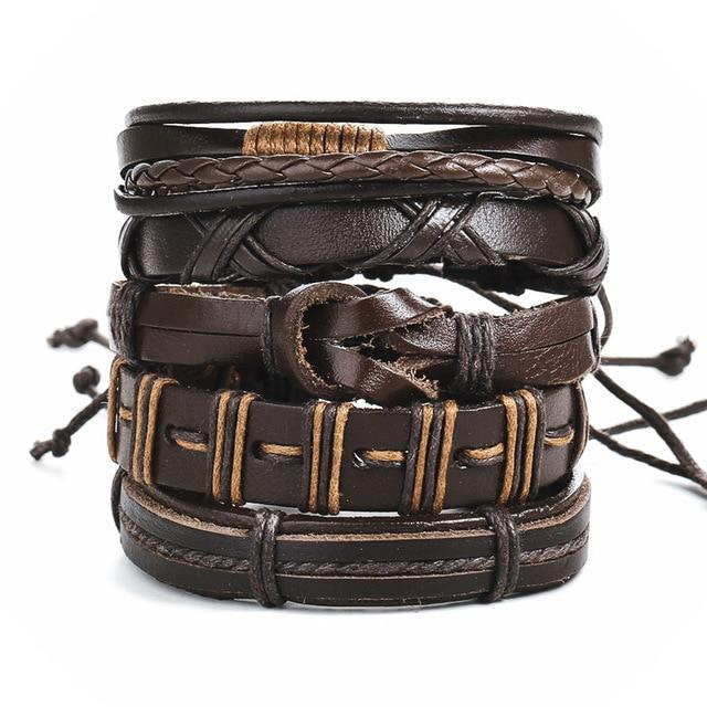 Vintage Leaf Feather  Leather Bracelet Men Braided Handmade Star Rope Wrap Bracelets