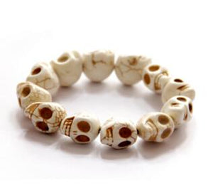 Vintage Natural Stone Skull Bracelets Bangles Beaded Skull - GiftWorldStyle - Luxury Jewelry and Accessories